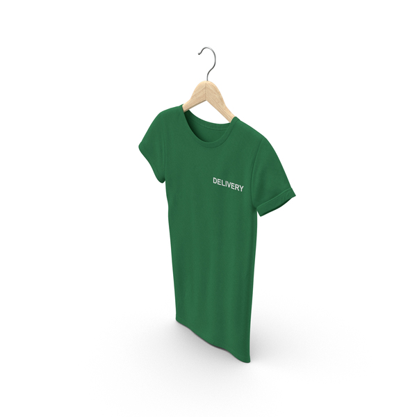 T Shirt: Female Crew Neck Hanging Green Delivery PNG & PSD Images
