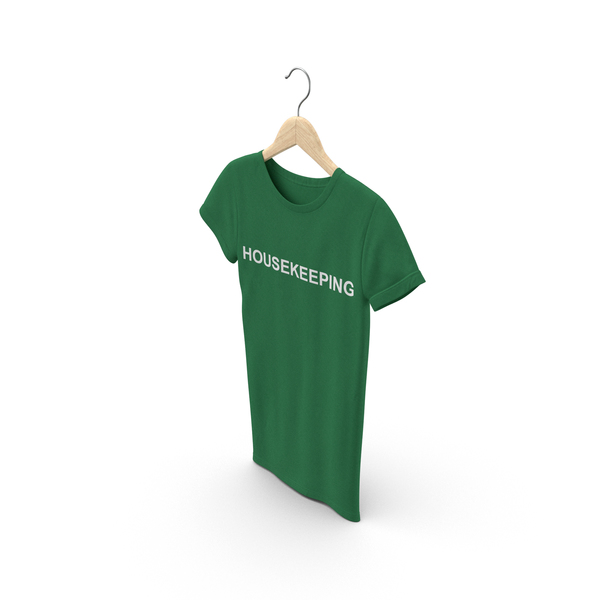 T Shirt: Female Crew Neck Hanging Green Housekeeping 01 PNG & PSD Images