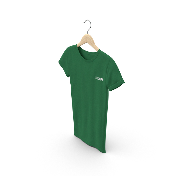 T Shirt: Female Crew Neck Hanging Green Staff PNG & PSD Images