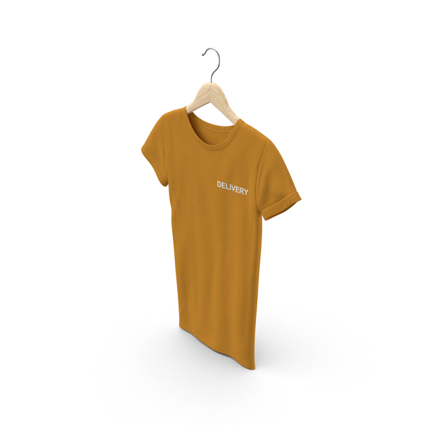 T Shirt: Female Crew Neck Hanging Orange Delivery PNG & PSD Images