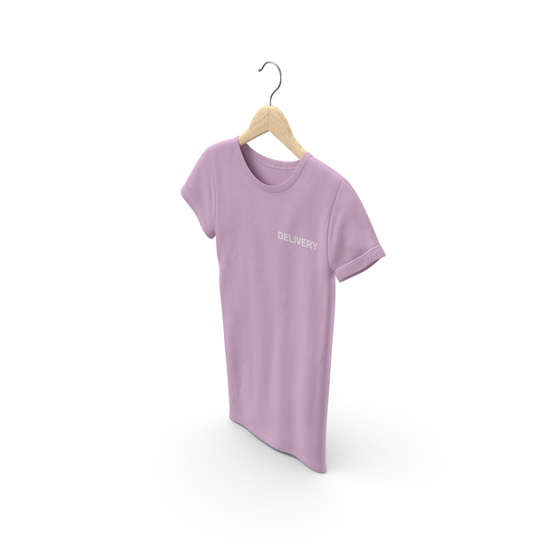 T Shirt: Female Crew Neck Hanging Pink Delivery PNG & PSD Images