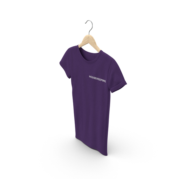 T Shirt: Female Crew Neck Hanging Purple Housekeeping PNG & PSD Images