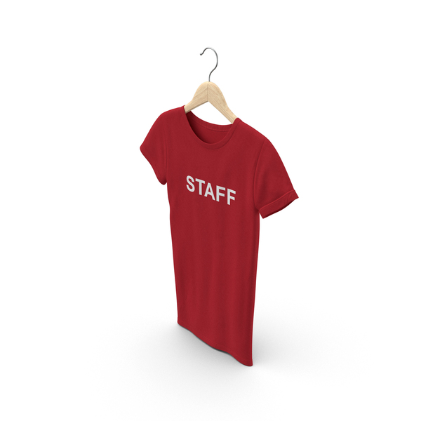 T Shirt: Female Crew Neck Hanging Red Staff PNG & PSD Images