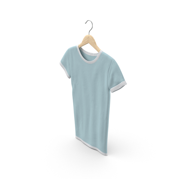 T Shirt: Female Crew Neck Hanging White and Blue PNG & PSD Images