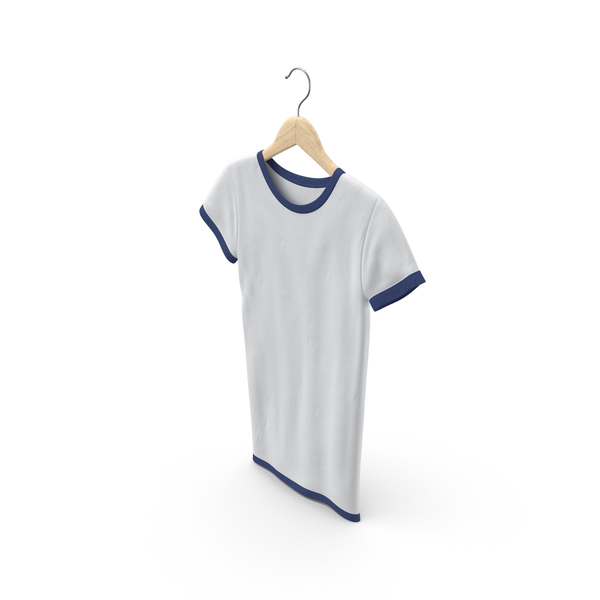 T Shirt: Female Crew Neck Hanging White and Dark Blue PNG & PSD Images