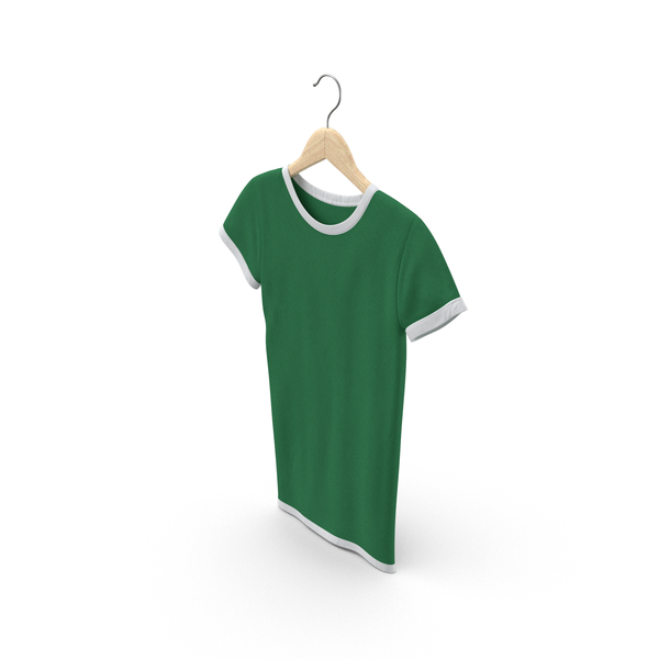 T Shirt: Female Crew Neck Hanging White and Green PNG & PSD Images