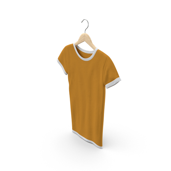 T Shirt: Female Crew Neck Hanging White and Orange PNG & PSD Images
