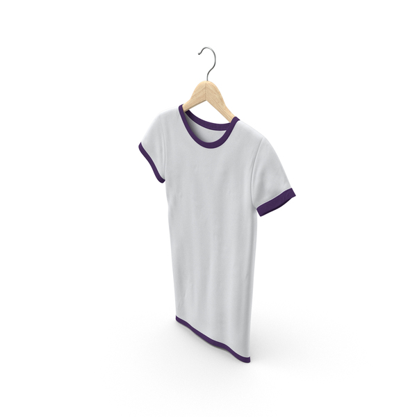 T Shirt: Female Crew Neck Hanging White and Purple PNG & PSD Images