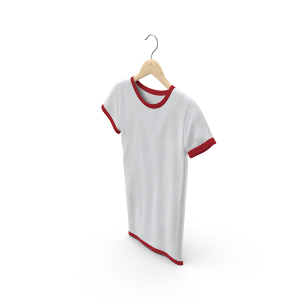 T Shirt: Female Crew Neck Hanging White and Red PNG & PSD Images