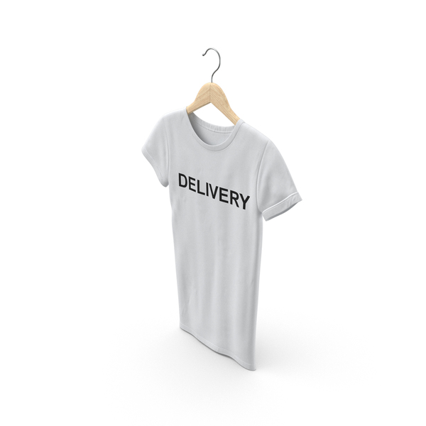 T Shirt: Female Crew Neck Hanging White Delivery PNG & PSD Images