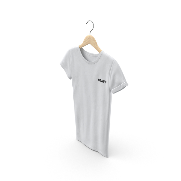 T Shirt: Female Crew Neck Hanging White Staff PNG & PSD Images