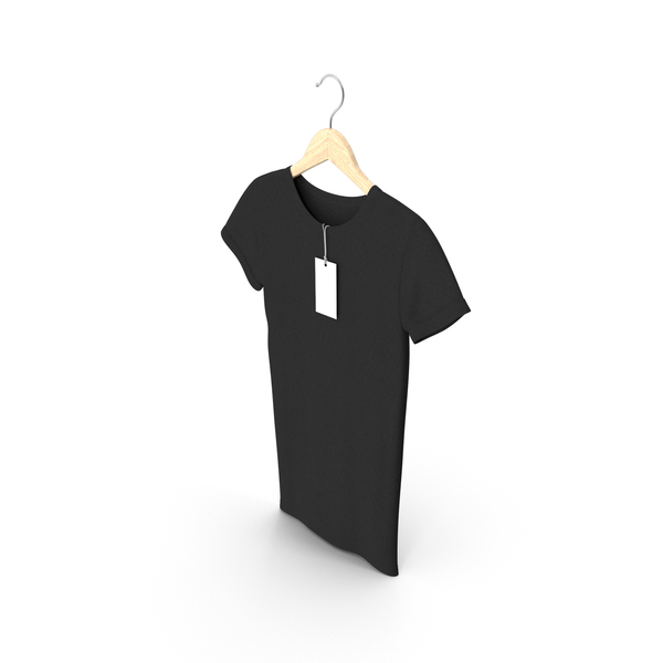 T Shirt: Female Crew Neck Hanging With Tag Black PNG & PSD Images