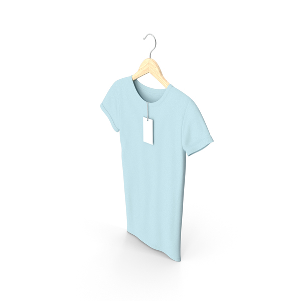 T Shirt: Female Crew Neck Hanging With Tag Blue PNG & PSD Images