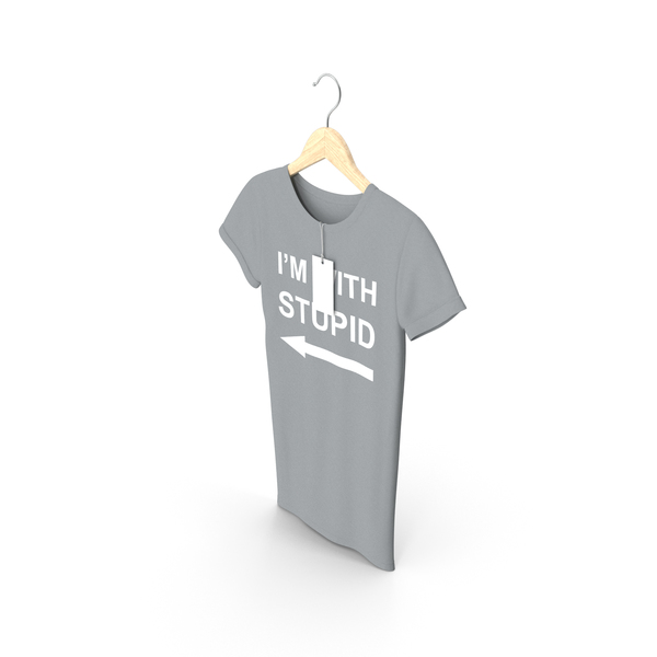 T Shirt: Female Crew Neck Hanging With Tag Gray Im With Stupid PNG & PSD Images
