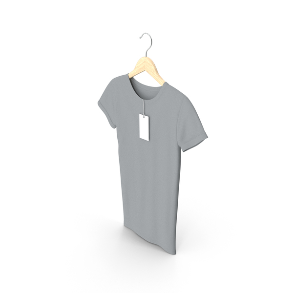 T Shirt: Female Crew Neck Hanging With Tag Gray PNG & PSD Images