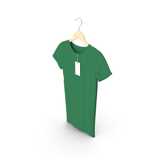 T Shirt: Female Crew Neck Hanging With Tag Green PNG & PSD Images