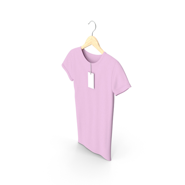 Shirt: Female Crew Neck Hanging With Tag Pink PNG & PSD Images