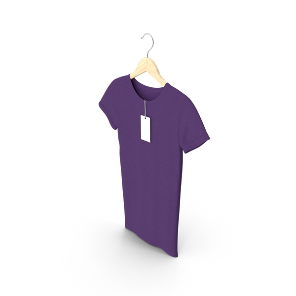T Shirt: Female Crew Neck Hanging With Tag Purple PNG & PSD Images