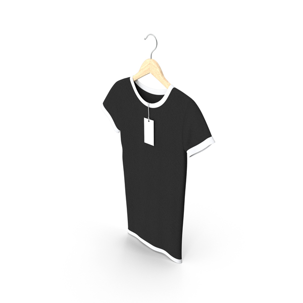 T Shirt: Female Crew Neck Hanging With Tag White and Black PNG & PSD Images