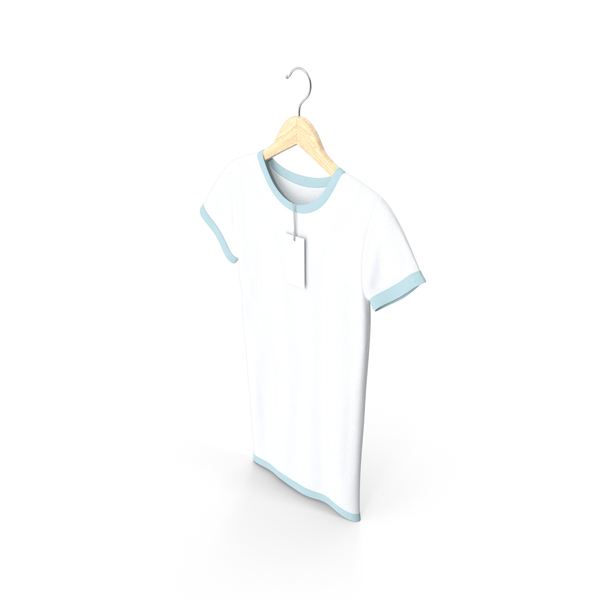T Shirt: Female Crew Neck Hanging With Tag White and Blue PNG & PSD Images