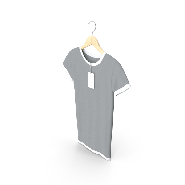 T Shirt: Female Crew Neck Hanging With Tag White and Gray PNG & PSD Images