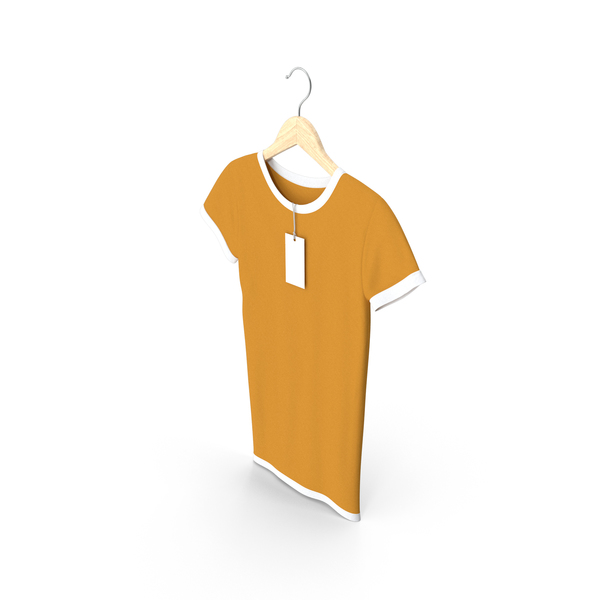 T Shirt: Female Crew Neck Hanging With Tag White and Orange PNG & PSD Images