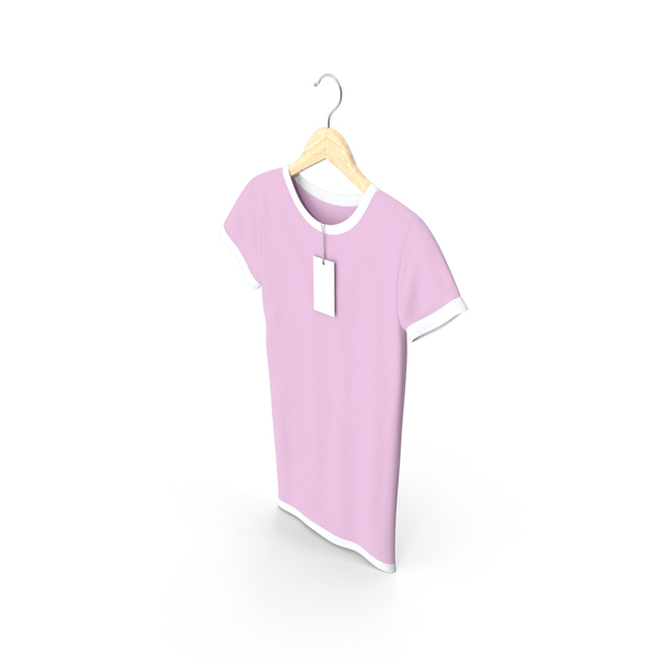 Shirt: Female Crew Neck Hanging With Tag White and Pink PNG & PSD Images