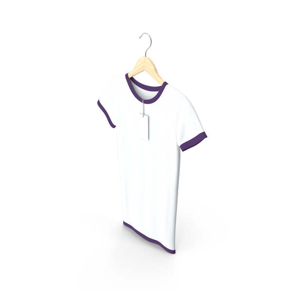 T Shirt: Female Crew Neck Hanging With Tag White and Purple PNG & PSD Images