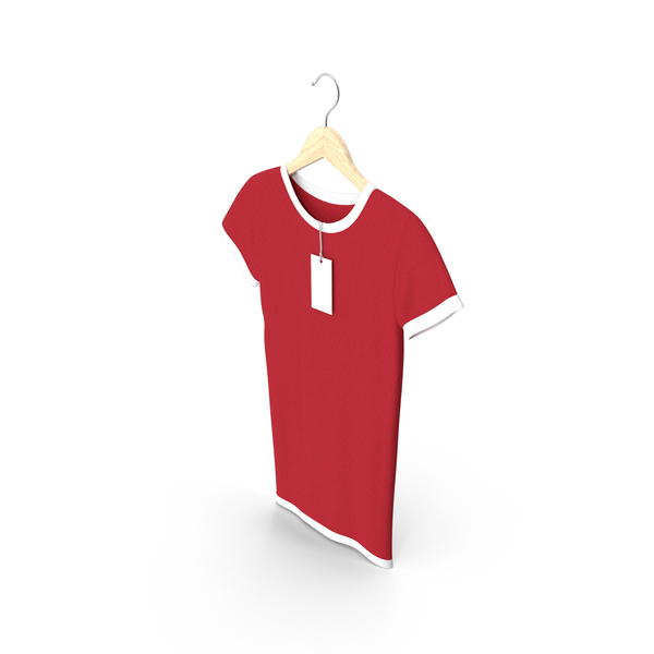 T Shirt: Female Crew Neck Hanging With Tag White and Red PNG & PSD Images