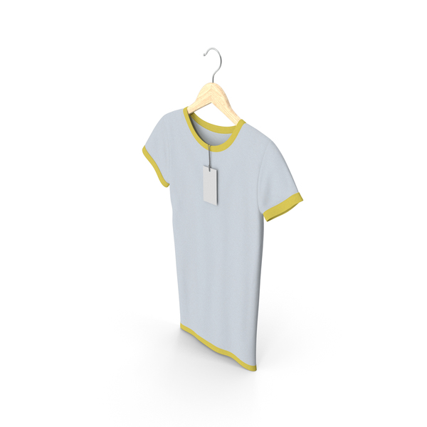 T Shirt: Female Crew Neck Hanging With Tag White and Yellow PNG & PSD Images