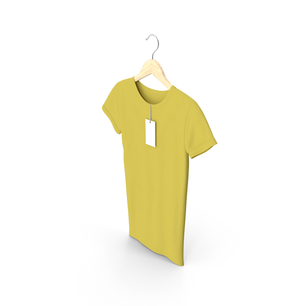 Shirt: Female Crew Neck Hanging With Tag Yellow PNG & PSD Images