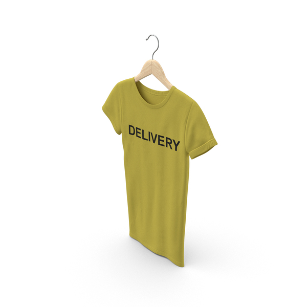 T Shirt: Female Crew Neck Hanging Yellow Delivery PNG & PSD Images
