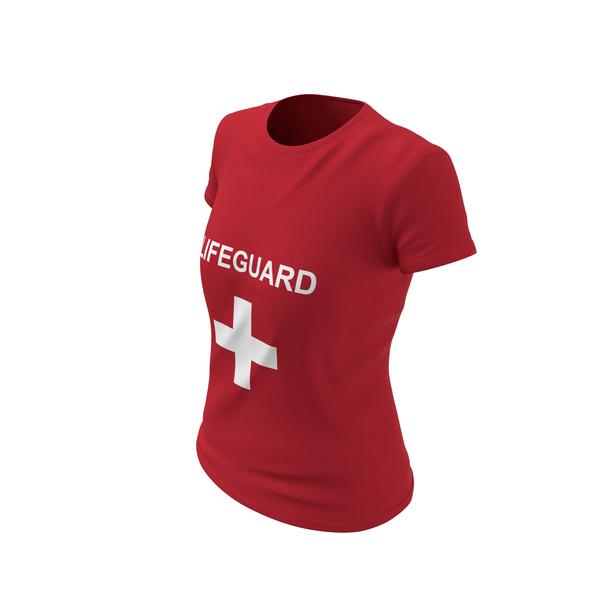 T Shirt: Female Crew Neck Worn Lifeguard PNG & PSD Images