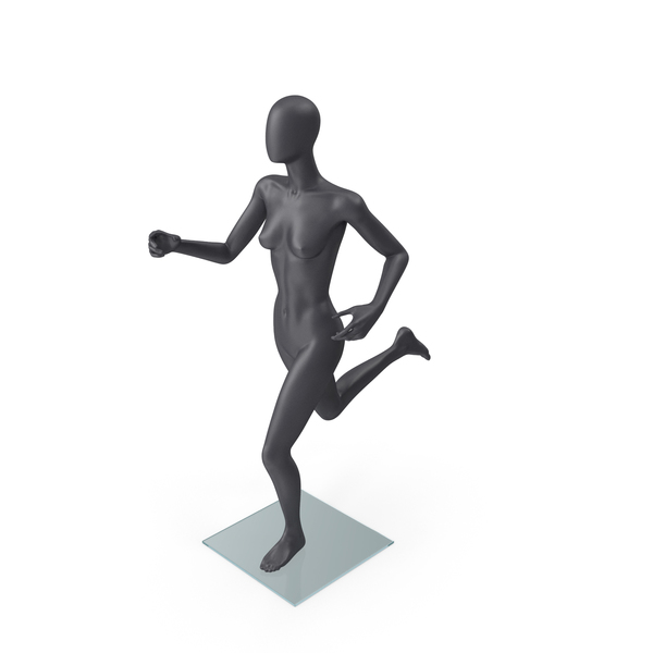 Female Mannequin Grey Running Pose PNG & PSD Images