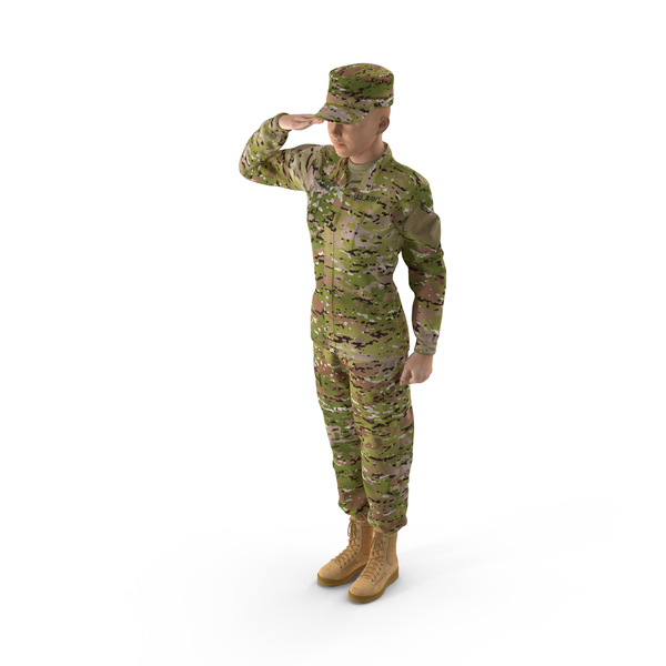 Female Soldier Camo Saluting Pose PNG & PSD Images