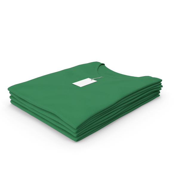 T Shirt: Female V Neck Folded Stacked With Tag Green PNG & PSD Images