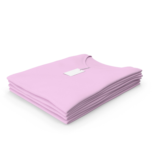 T Shirt: Female V Neck Folded Stacked With Tag Pink PNG & PSD Images