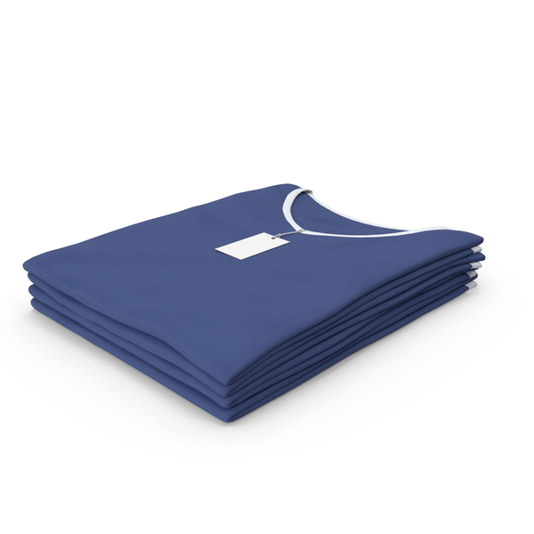 T Shirt: Female V Neck Folded Stacked With Tag White and Dark Blue PNG & PSD Images