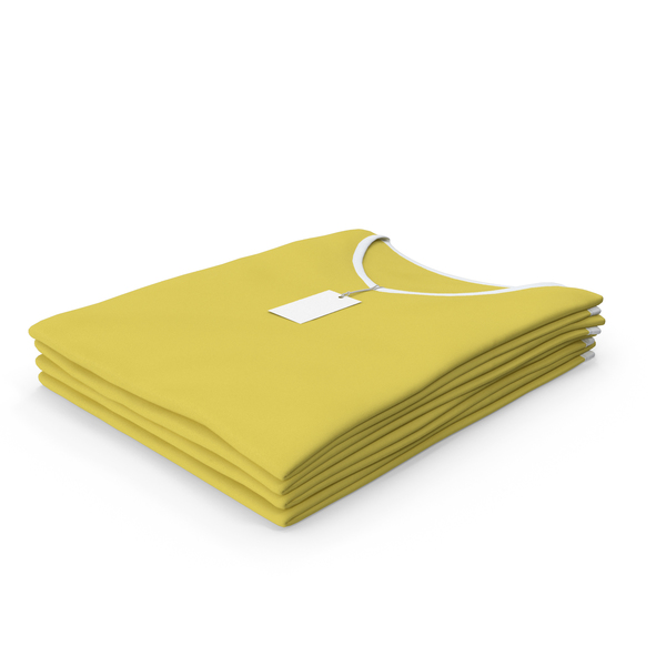 T Shirt: Female V Neck Folded Stacked With Tag White and Yellow PNG & PSD Images