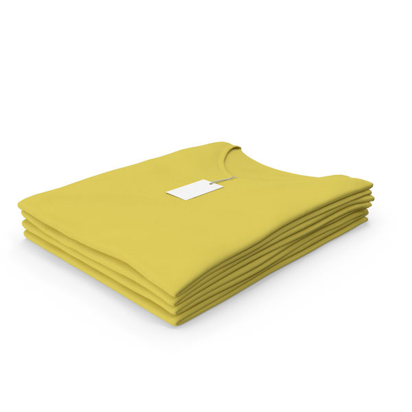 T Shirt: Female V Neck Folded Stacked With Tag Yellow PNG & PSD Images