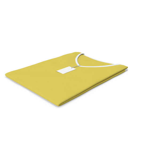 T Shirt: Female V Neck Folded With Tag White and Yellow PNG & PSD Images