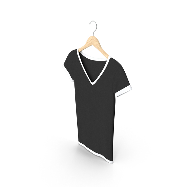 Tank Top: Female V Neck Hanging White And Black PNG & PSD Images