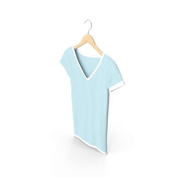T Shirt: Female V Neck Hanging White And Blue PNG & PSD Images