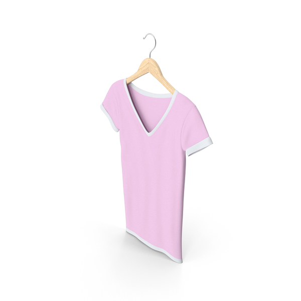 T Shirt: Female V Neck Hanging White And Pink PNG & PSD Images