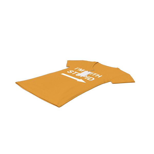 T Shirt: Female V Neck Laying With Tag Orange Im With Stupid PNG & PSD Images