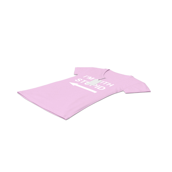 T Shirt: Female V Neck Laying With Tag Pink Im With Stupid PNG & PSD Images