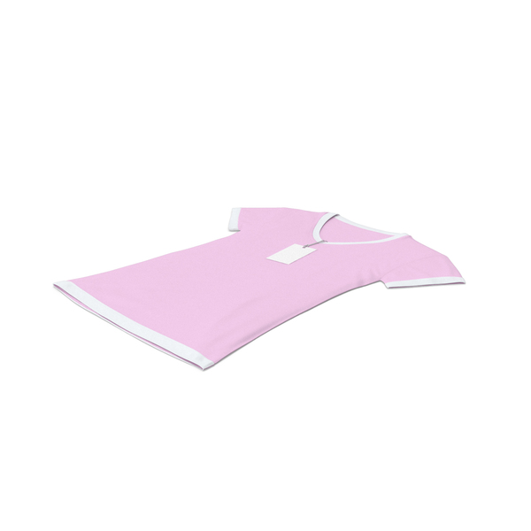 T Shirt: Female V Neck Laying With Tag White And Pink PNG & PSD Images