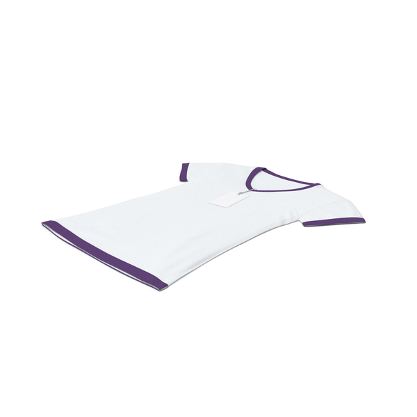 T Shirt: Female V Neck Laying With Tag White And Purple PNG & PSD Images