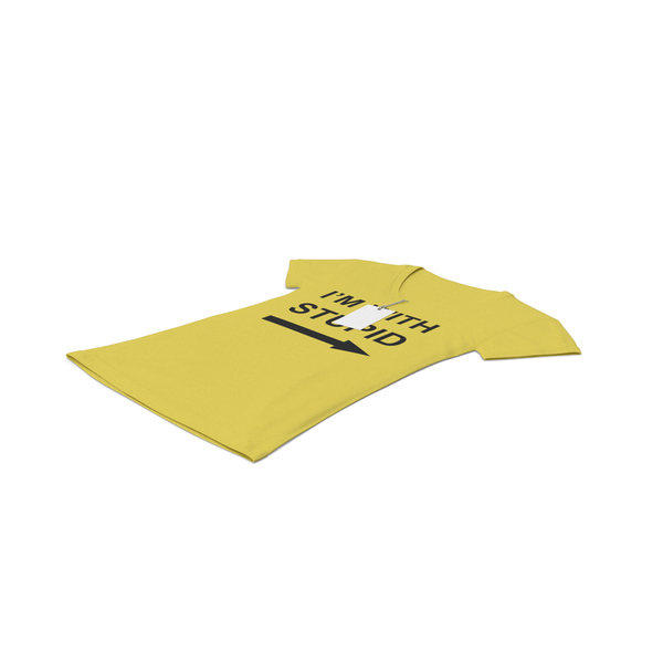 T Shirt: Female V Neck Laying With Tag Yellow Im With Stupid PNG & PSD Images
