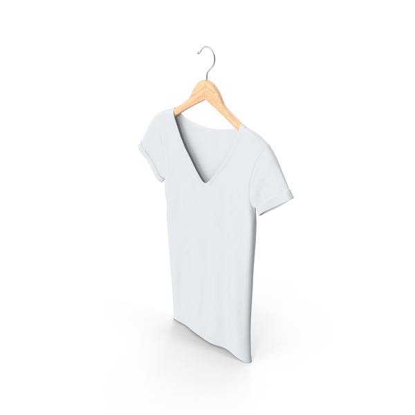 T Shirt: Female V-Neck Mock-up Hanging on Hanger PNG & PSD Images